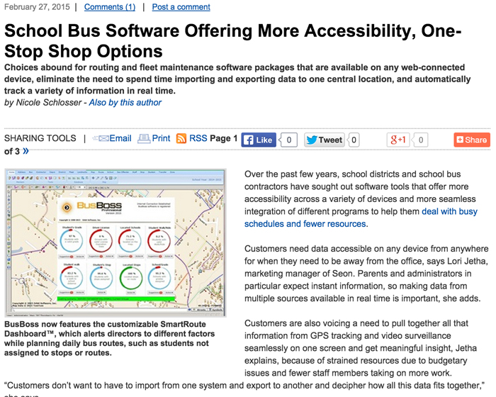 School Bus Fleet School Bus Software Offering More Accessibility One stop Shop Options